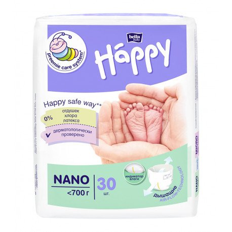 Підгузки Bella Baby HAPPY NANO (˂ 700 г) 30 шт.