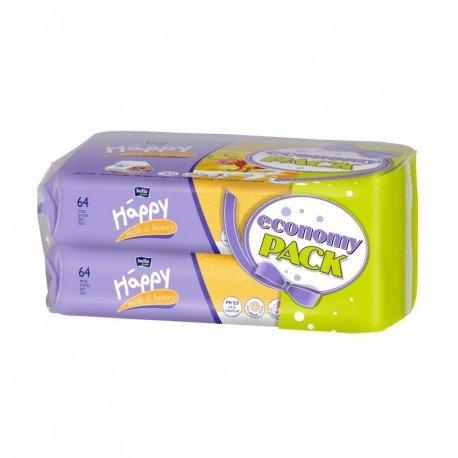 Влажные салфетки HAPPY Milk&Honey 64х2шт.