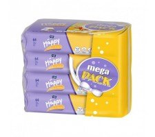 Вологі серветки HAPPY Milk&Honey 64х4шт.