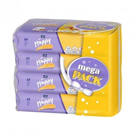 Влажные салфетки HAPPY Milk&Honey 64х4шт.