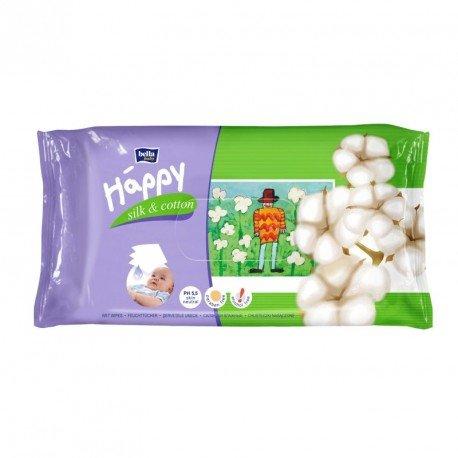 Влажные салфетки HAPPY Silk&Cotton 64шт.