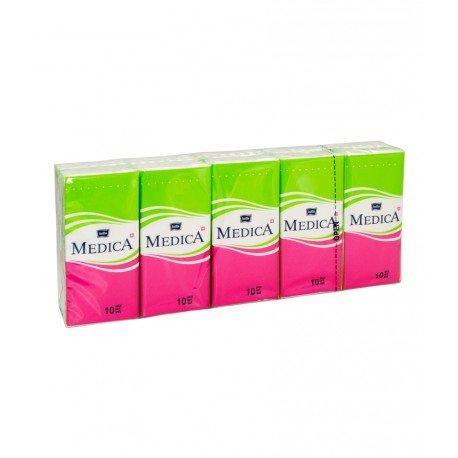 Бумажные носовые платочки BELLA MEDICA, трёхслойные 10 уп. по 10 шт.