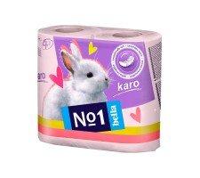 Туалетная бумага Bella№1 (Karo розовый), двухслойная 4 рулона