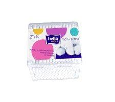 Палички гiгiєнiчні BELLA Cotton. Пластикова прямокутна упаковка 200 шт.